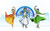 stock photo of ashok  - illustration of Indian classical dancer performing in tricolor costume - JPG