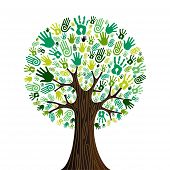 Go Green Hands Collaborative Tree