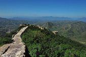 stock photo of qin dynasty  - Great Wall of China in Sumatai near Beijing  - JPG
