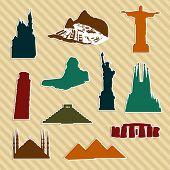 World Landmark Silhouettes poster