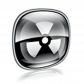 Radioactive Icon Black Glass, On White Background.