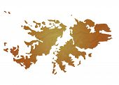 Textured map of Falkland Islands map with brown rock or stone texture, isolated on white background with clipping path.