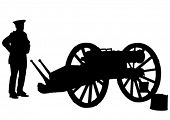 Vector image of old guns and soldiers