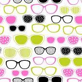 Gafas y gafas de sol de patrones sin fisuras. Textura de vector.