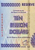 image of billion  - Part of expired Zimbabwean bill of ten billion dollars - JPG