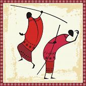 Vector illustrations of African Masai warriors in traditional clothing.