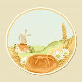 Vector retro label with a mill, wheat stalks, camomiles and fresh bread
