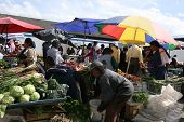 Editorial Use - Fruit and Vegetable Market in Cotacachi, Ecuador