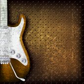 pic of clefs  - abstract grunge brown background with electric guitar - JPG