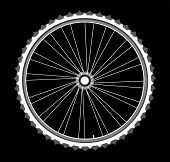 weiß Fahrrad Räder auf schwarzem Hintergrund