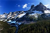 Bell Snow Mountain Washington Pass Roadway July Summer North Cascades National Park Pacific Northwes