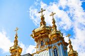 Domes with crosses Grand Palace Peterhof, Petrodvorets, Saint-Petersburg, Russia