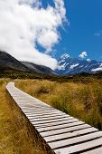 Hooker Valley with Aoraki Mt Cook Southern Alps NZ