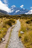 Vale de Hooker com Alpes do Sul Aoraki Mt Cook NZ