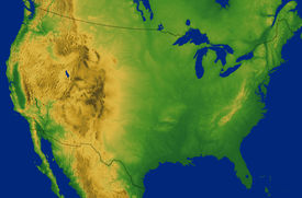 pic of usa map  - Continental USA map showing the Rocky Mountains - JPG