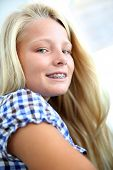 Portrait of teenager with braces