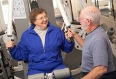 Senior Adult Couple In The Gym