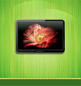 lcd, plasma tv with beautiful poppy hanging on a green wall