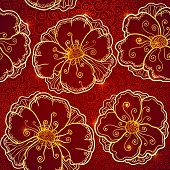 Ornate vinous flowers vector seamless pattern