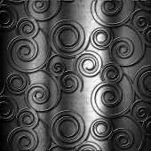Grunge metal background with abstract swirl embossed effect