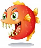 image of piranha  - Illustration of an orange piranha on a white background - JPG