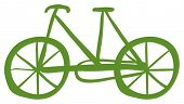Illustration of a green bike on a white background