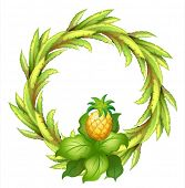 Illustration of a green border with pineapple on a white background