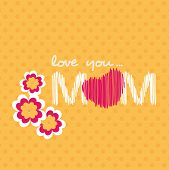 Beautiful concept for Happy Mothers Day with text love you mom and flowers on abstract yellow background.