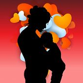 Silhouette of mother and her child on red heart shape background.