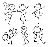Illustration of the six different kinds of dance moves on  a white background