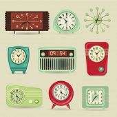 Set of Retro Clocks, including alarm and radio clocks