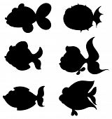 Illustration of the silhouettes of fishes on a white background