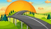 pic of long winding road  - Illustration of a long road with a sunset - JPG