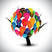 pic of imaginary  - Vector graphic of idea tree with colorful bulbs as solutions - JPG