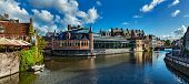 pic of medieval  - Ghent canal and medieval building - JPG