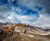 Road construction in mountains Himalayas. Ladakh, India