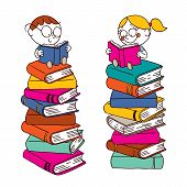 Kids reading on a big pile of books