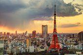 Skyline von Tokyo, Japan Tokio Tower.