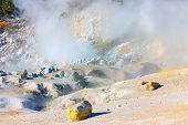 Smoking Fumaroles Of Bumpass Hell, Lassen Volcanic Park, California.