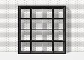 Black Empty Square Bookshelf On White Brick Wall Background