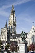 Rubens Statue In Front Of Gothic Carhedral In Antwerp