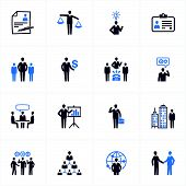 Management en Human Resources Icons - blauwe reeks