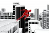 Man Jumping On The Roofs Of Buildings In The City