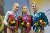 MOSCOW, RUSSIA - APRIL 20: Klaveren, Netherlands (left), Iordache, Romania, Steingruber, Switzerland (right) on 5th European Championships in Artistic Gymnastics in Moscow, Russia on April 20, 2013