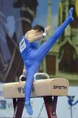 MOSCOW, RUSSIA - APRIL 20: Alberto Busnari, Italy performs exercise on pommel horse in final of 5th