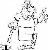 Cartoon gorilla golfer