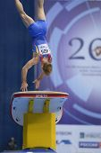 MOSCOW, RUSSIA - APRIL 21: Flavius Koczi, Romania performs vault in final of 5th European Championsh