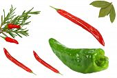 Green Chilli Rosemary And Bay Leaves