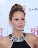 LOS ANGELES - FEB 23:  Jennifer Lawrence arrives to the Film Independent Spirit Awards 2013  on Febr