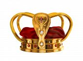 Three dimensional model of golden crown with diamonds and rubies. Isolated on white